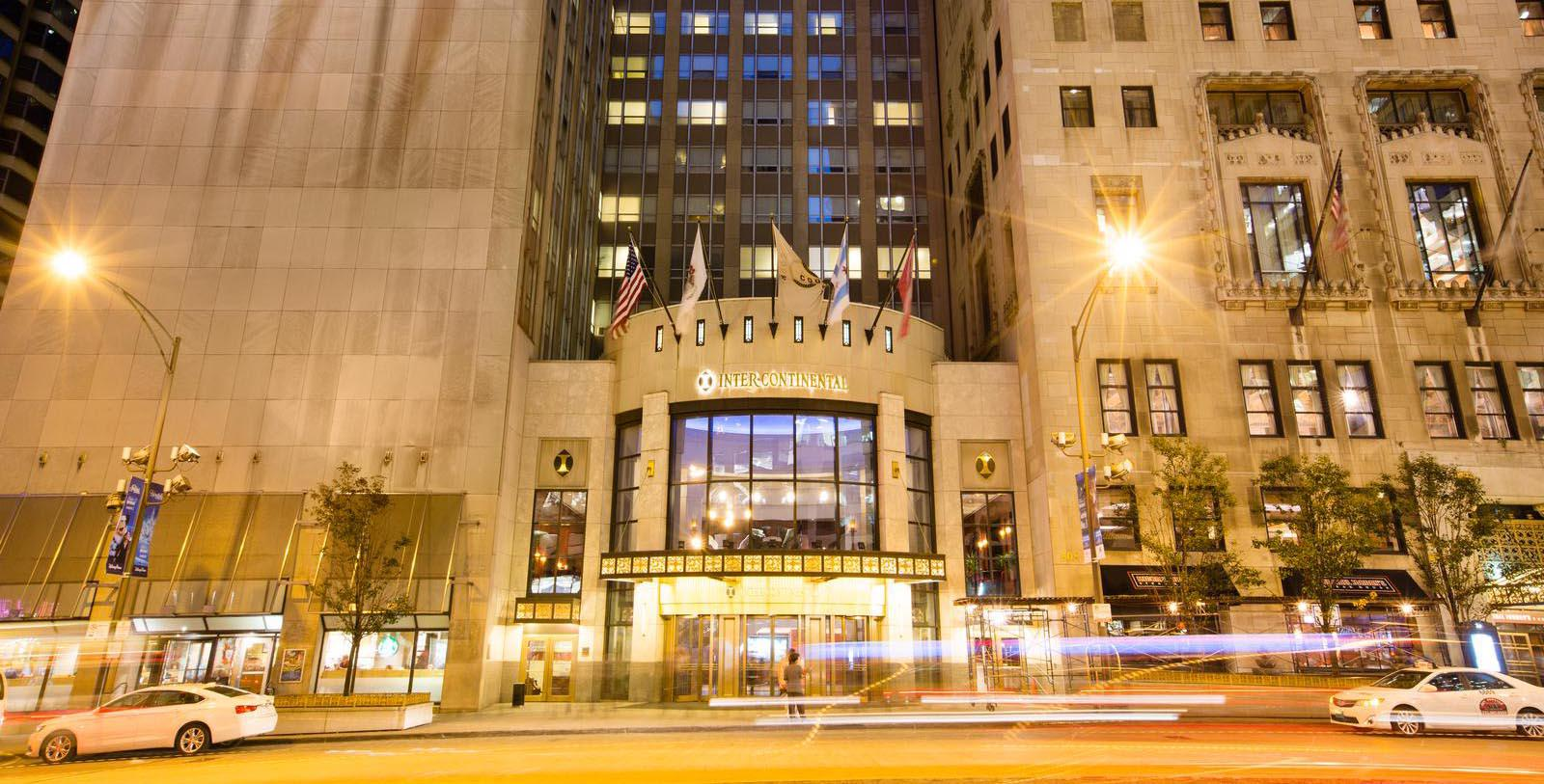 Image of Exterior at Night, InterContinental Chicago Magnificent Mile in Chicago, Illinois, 1929, Member of Historic Hotels of America, Special Offers, Discounted Rates, Families, Romantic Escape, Honeymoons, Anniversaries, Reunions