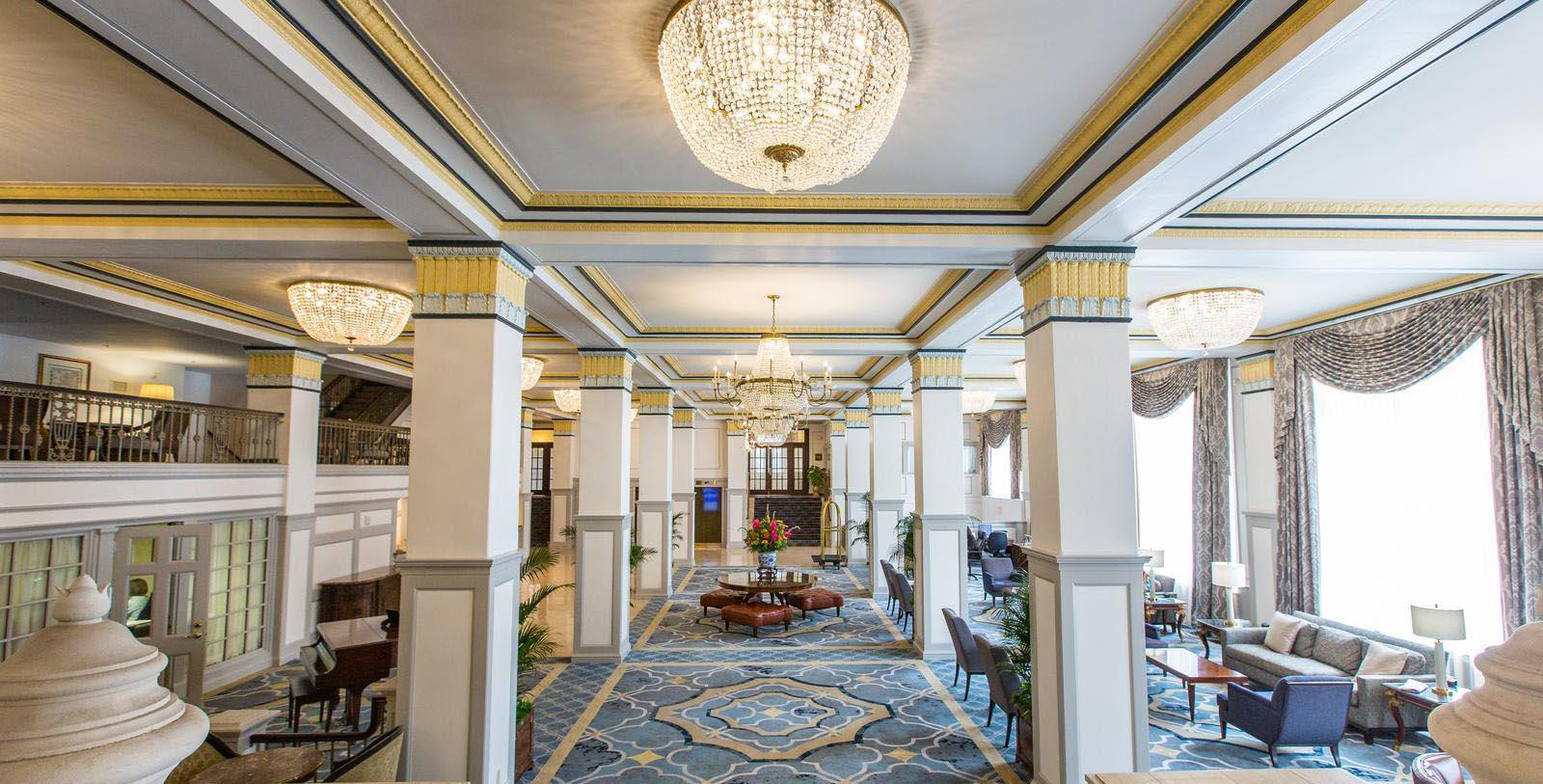 Image of hotel lobby at Francis Marion Hotel, 1924, Member of Historic Hotels of America, in Charleston, South Carolina, Special Offers, Discounted Rates, Families, Romantic Escape, Honeymoons, Anniversaries, Reunions