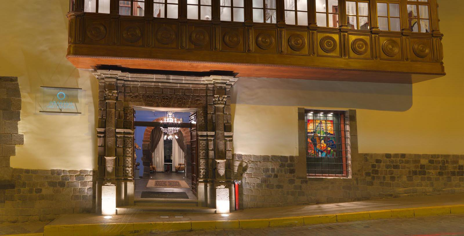 Image of hotel exterior front entrance Aranwa Cusco Boutique Hotel, 1560, Member of Historic Hotels Worldwide, in Cusco, Peru, Special Offers, Discounted Rates, Families, Romantic Escape, Honeymoons, Anniversaries, Reunions