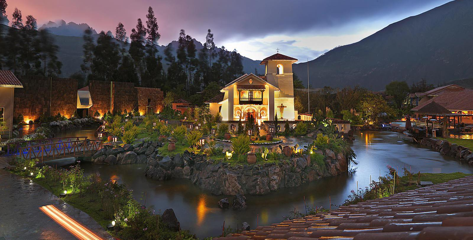 Image of hotel exterior in the evening, Aranwa Sacred Valley, 1900, Member of Historic Hotels Worldwide, in Urubamba, Peru, Special Offers, Discounted Rates, Families, Romantic Escape, Honeymoons, Anniversaries, Reunions