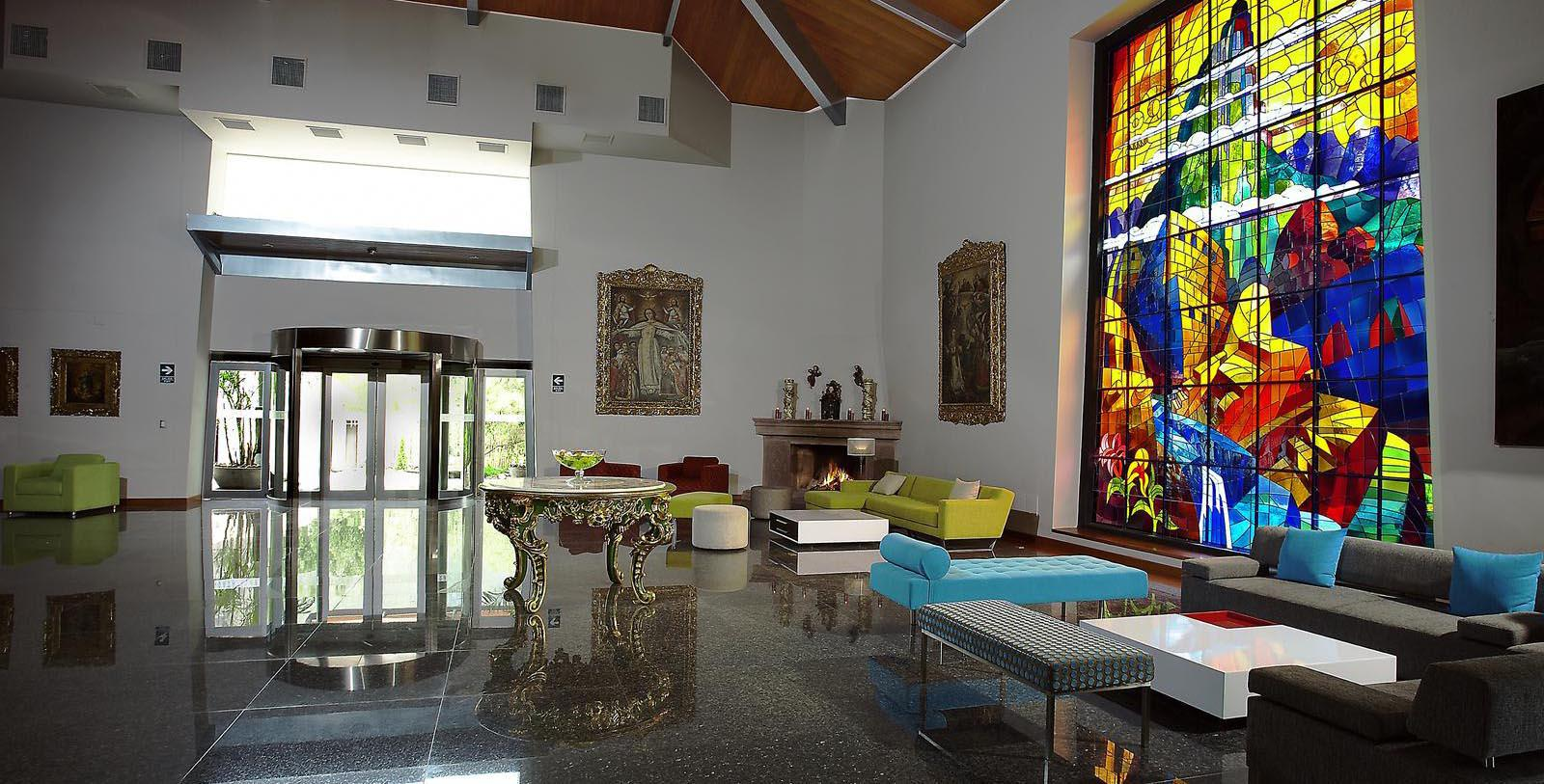 Image of stained glass window in the lobby Aranwa Sacred Valley, 1900, Member of Historic Hotels Worldwide, in Urubamba, Peru, Discover