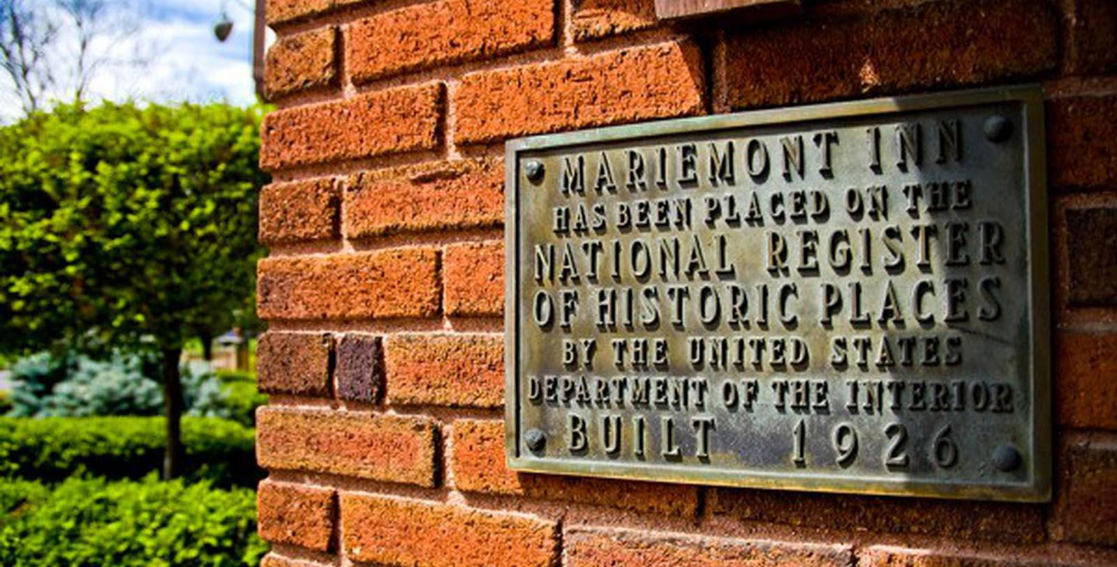 Image of National Registry of Historic Places plaque outside Best Western Mariemont Inn, 1926, Member of Historic Hotels of America, in Cincinnati, Ohio, Discover