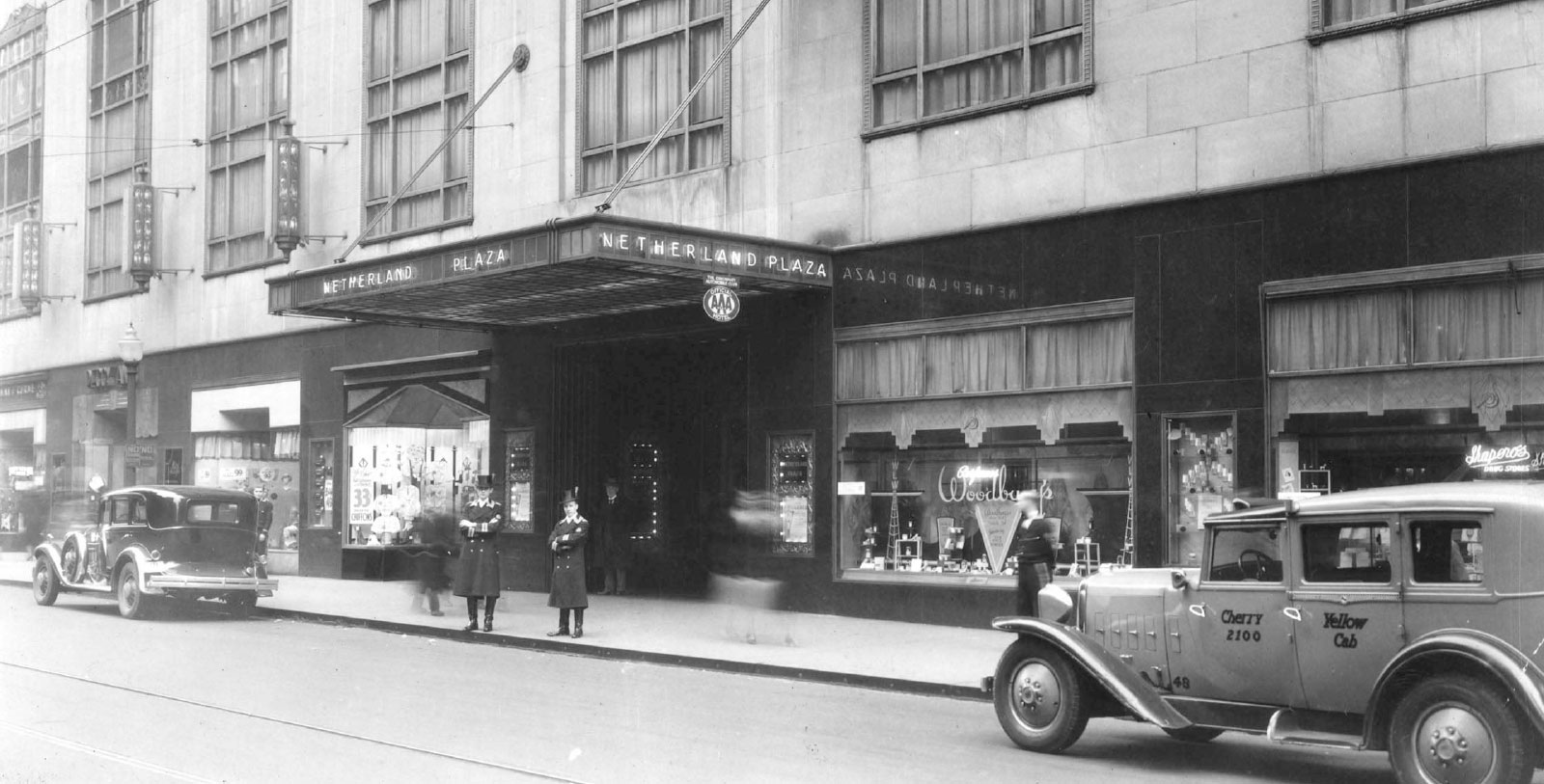 Historic image of hotel exterior at Hilton Cincinnati Netherland Plaza, 1931, Member of Historic Hotels of America, in Cincinnati, Ohio,Discover