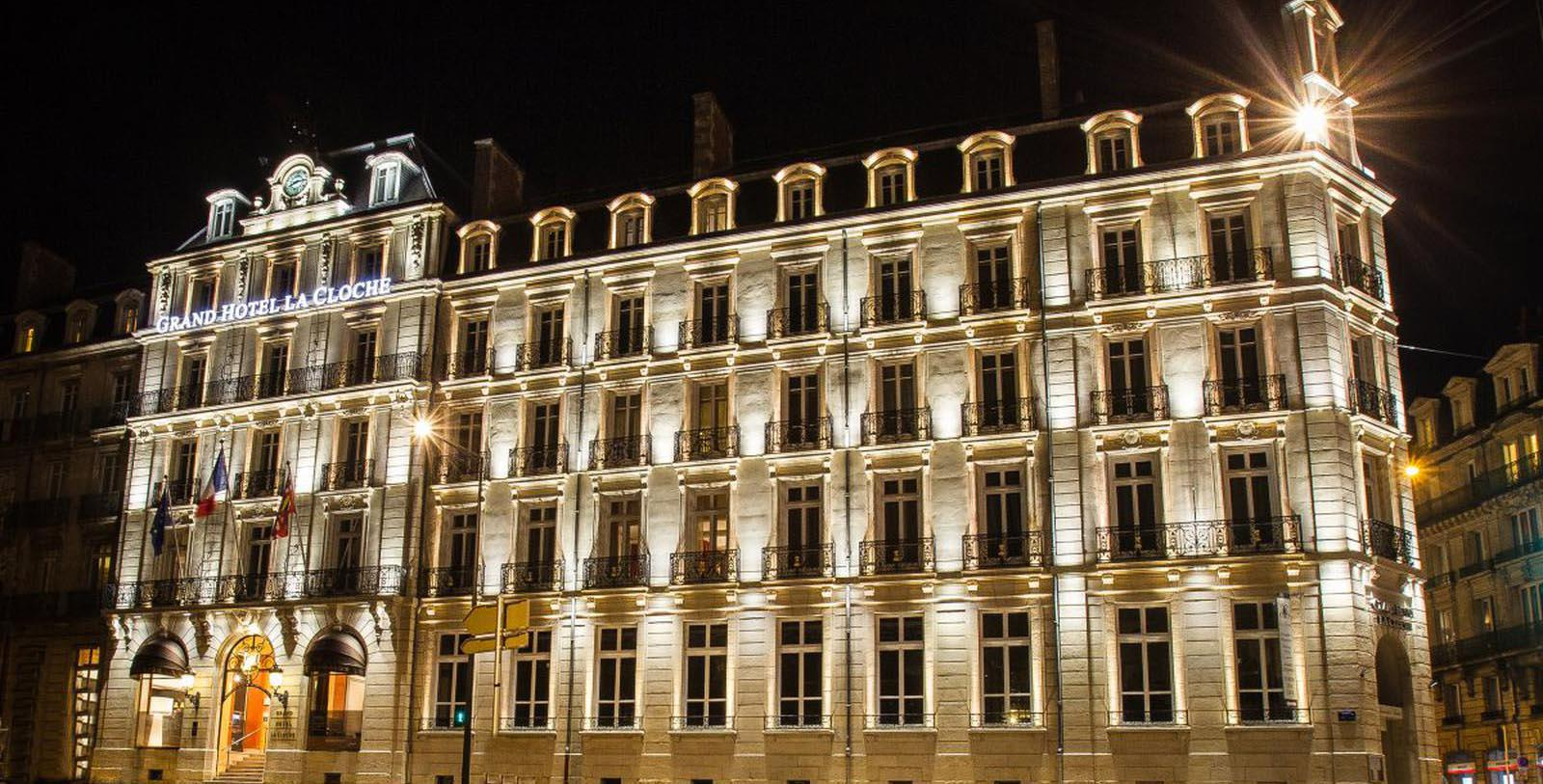 Image of Exterior at Night, Grand Hôtel La Cloche Dijon - MGallery by Sofitel, Dijon, France, 1884, Member of Historic Hotels Worldwide, Special Offers, Discounted Rates, Families, Romantic Escape, Honeymoons, Anniversaries, Reunions