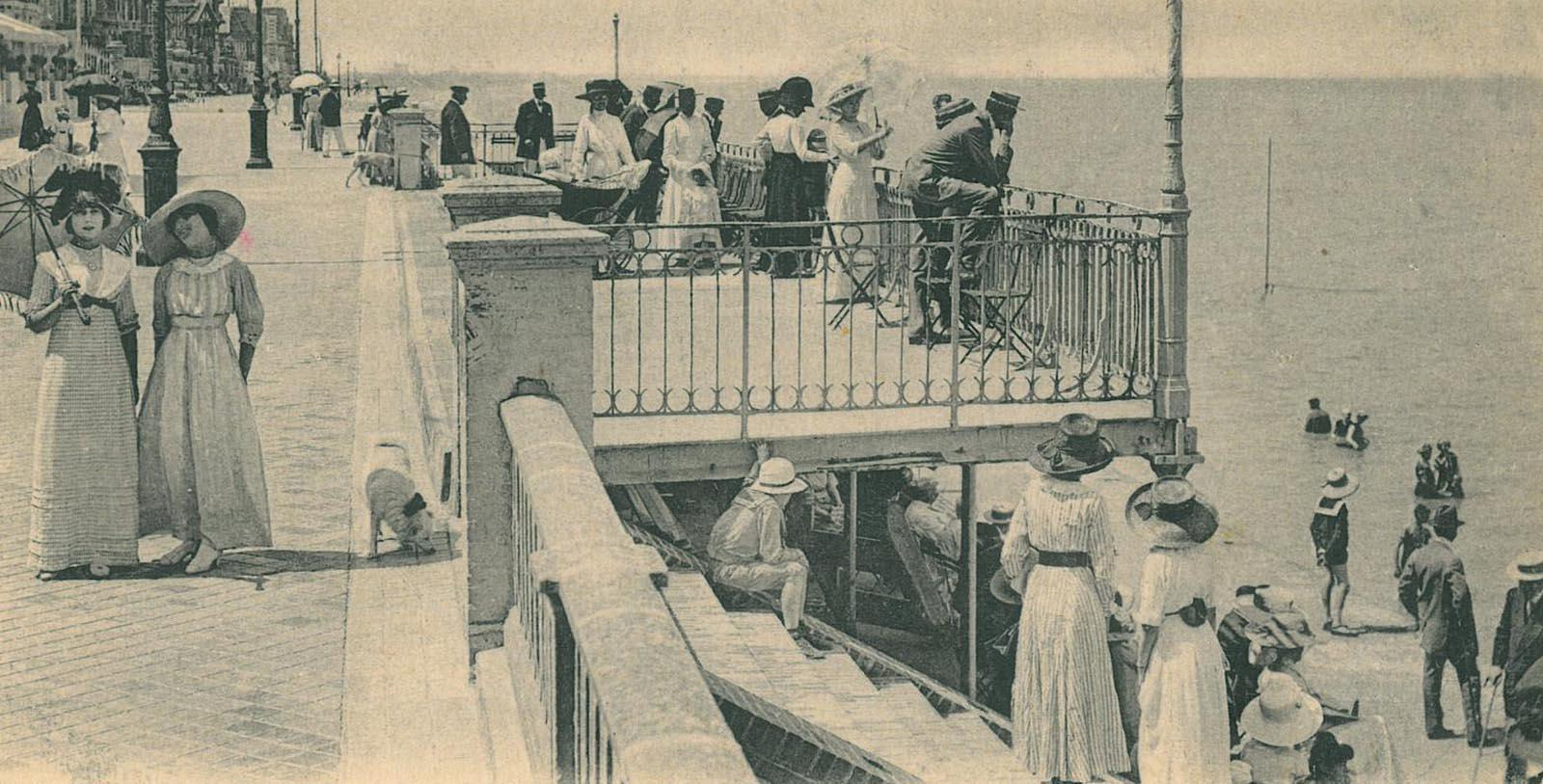 Historic Image of Guests on the promenade Le Grand Hôtel Cabourg - MGallery by Sofitel, 1907, Member of Historic Hotels Worldwide, in Cabourg, France, Discover