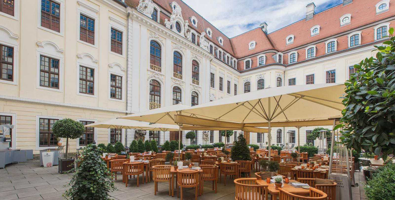 Image of Restaurant Patio, Hotel Taschenbergpalais Kempinski Dresden, Germany, 1700s, Member of Historic Hotels Worldwide, Explore