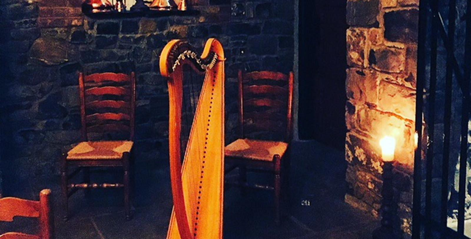Image of harp in lobby Barberstown Castle, 1288, Member of Historic Hotels Worldwide, in Straffan, Ireland, Discover
