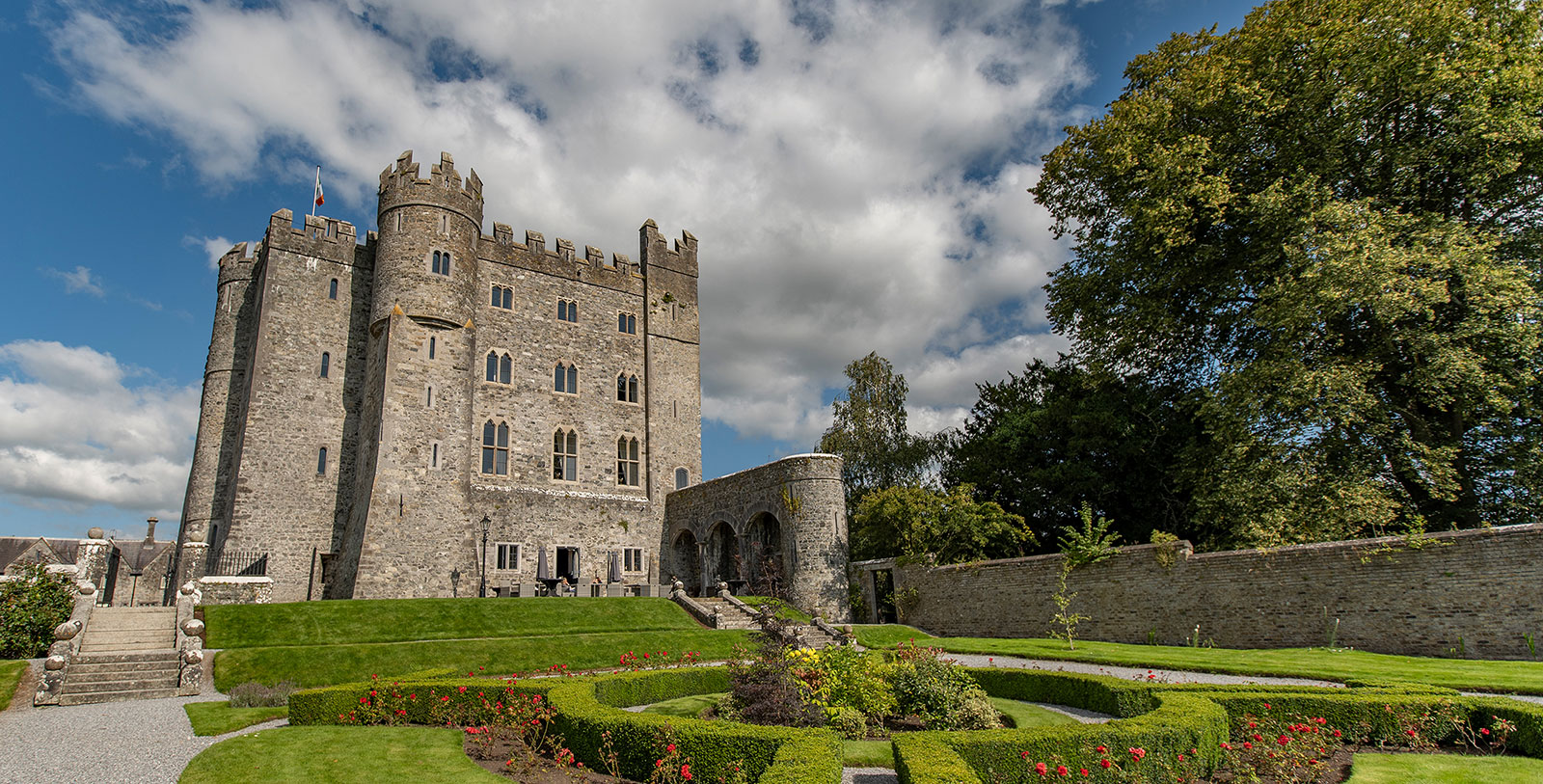 Image of Castle Exterior Garden Kilkea Castle Estate and Golf Club Castledermont County Kildare Ireland, Overview
