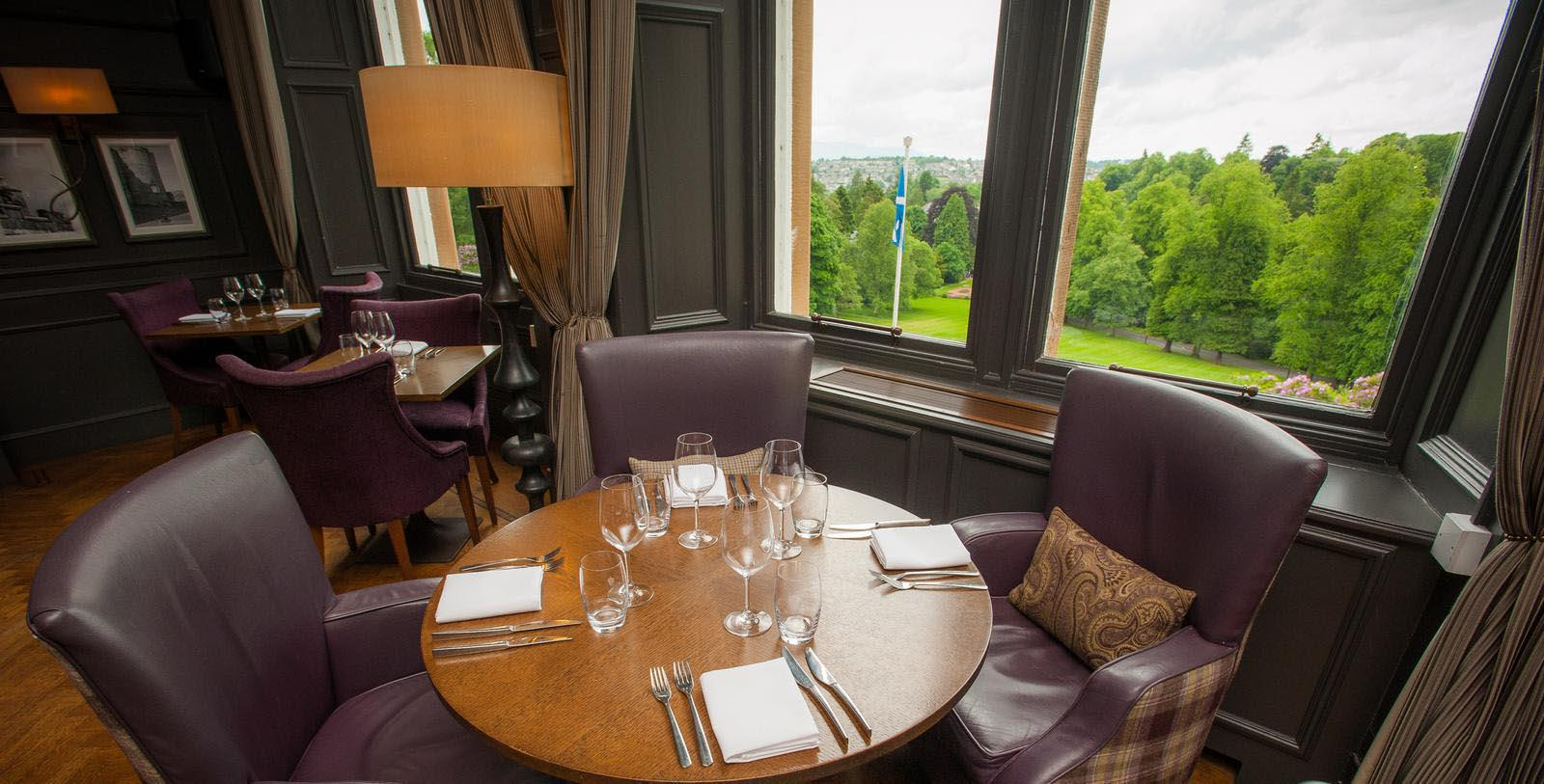 Image of hotel restaurant seating area DoubleTree by Hilton Hotel Dunblane Hydro, 1878, Member of Historic Hotels Worldwide, in Dunblane, Scotland, Explore