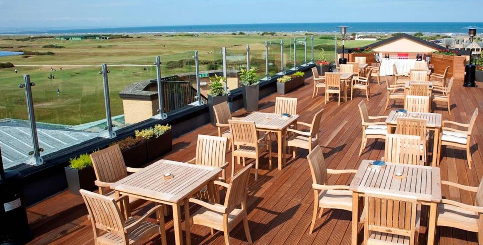 Image of Outdoor Dining Area Old Course Hotel, Golf Resort & Spa, 15th Century, Member of Historic Hotels Worldwide, in St. Andrews, Scotland, Experience
