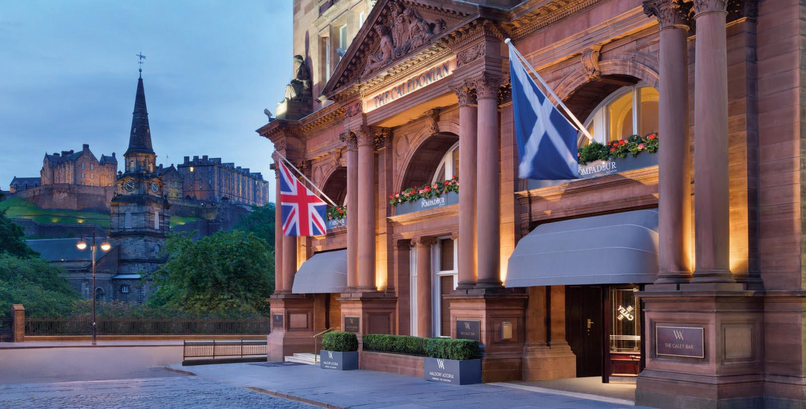 Image of Hotel Front Entrance at Waldorf Astoria Edinburgh - The Caledonian, 1903, Member of Historic Hotels Worldwide, in Edinburgh, Scotland, United Kingdom, Special Offers, Discounted Rates, Families, Romantic Escape, Honeymoons, Anniversaries, Reunions