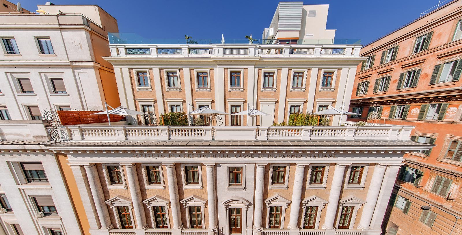 Image of hotel exterior Aleph Rome Hotel, Curio Collection by Hilton, 1930, Member of Historic Hotels Worldwide, in Rome, Italy, Special Offers, Discounted Rates, Families, Romantic Escape, Honeymoons, Anniversaries, Reunions