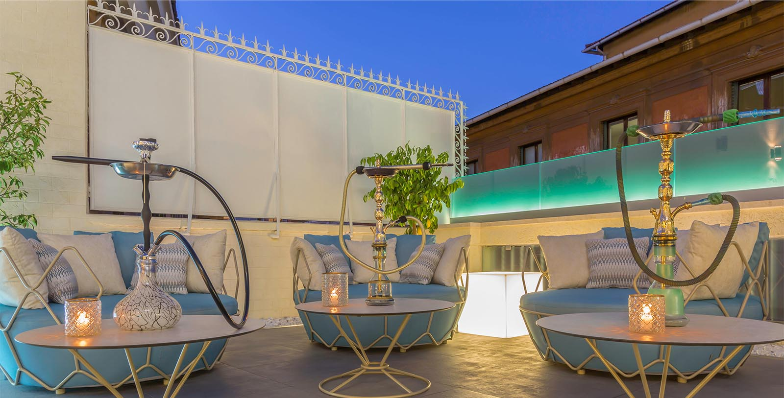 Image of hookah lounge set up outside Aleph Rome Hotel, Curio Collection by Hilton, 1930, Member of Historic Hotels Worldwide, in Rome, Italy, Hot Deals
