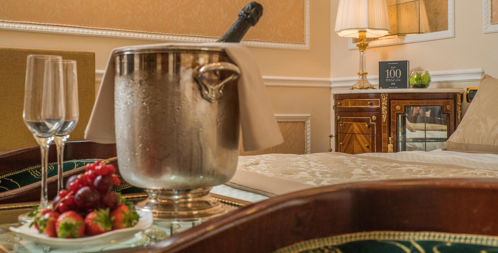Image of champagne chilling in guestroom Bernini Palace Hotel, 1500, Member of Historic Hotels Worldwide, in Florence, Italy, Location Map