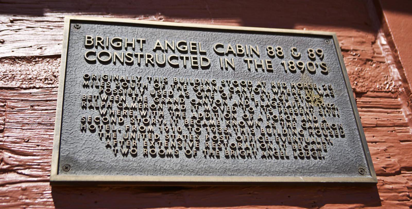 Image of historic plaque on the exterior wall at Bright Angel Lodge & Cabins, 1909, Member of Historic Hotels of America, in Grand Canyon, Arizona, Discover