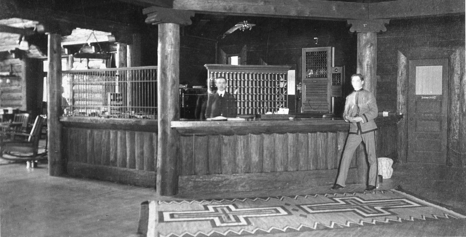 Historic image of front desk at El Tovar Hotel, 1905, Member of Historic Hotels of America, in Grand Canyon, Arizona, Discover