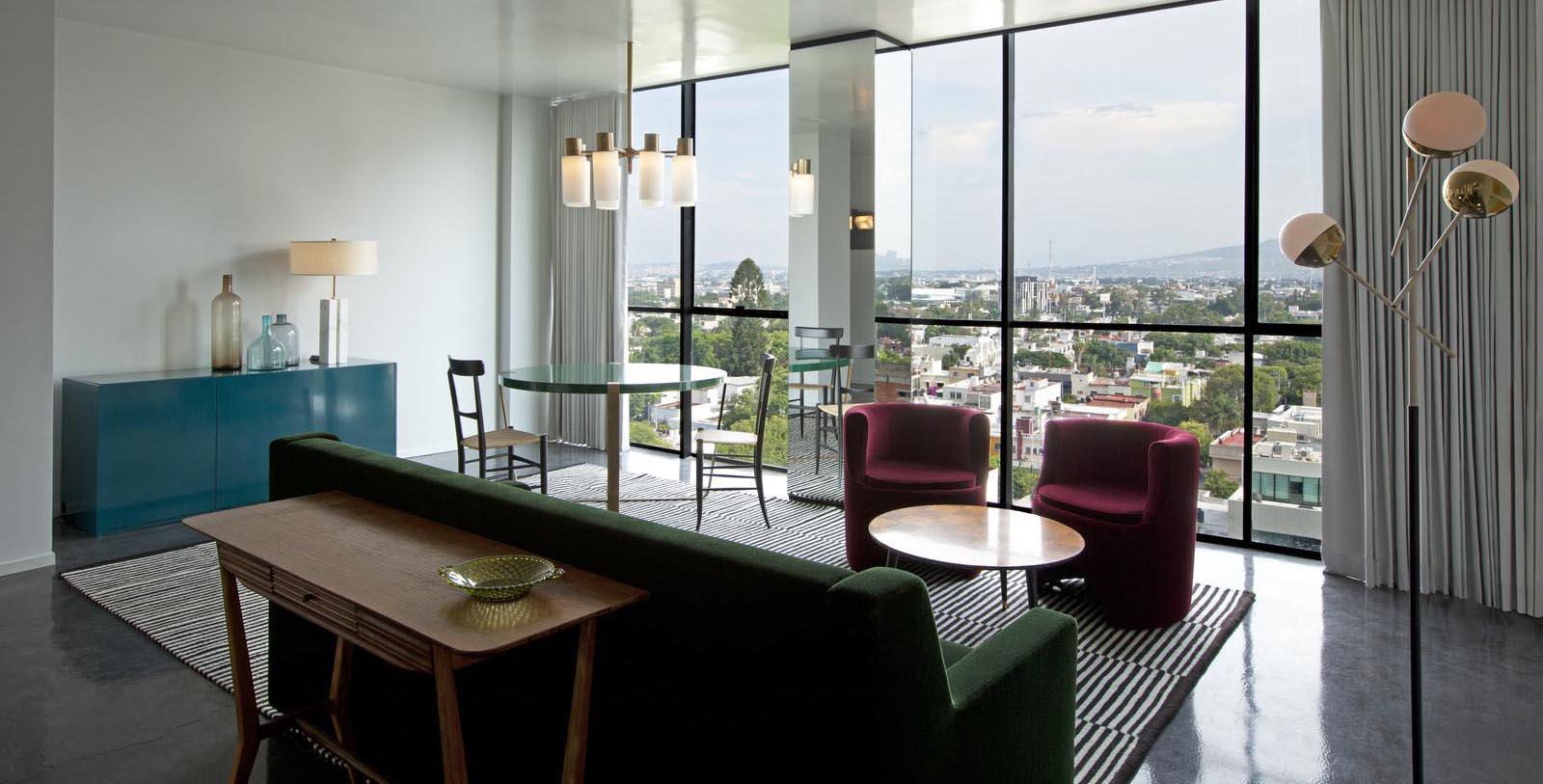 Image of hotel suite seating area Casa Habita, 1938, Member of Historic Hotels Worldwide, in Guadalajara, Mexico, Special Offers, Discounted Rates, Families, Romantic Escape, Honeymoons, Anniversaries, Reunions