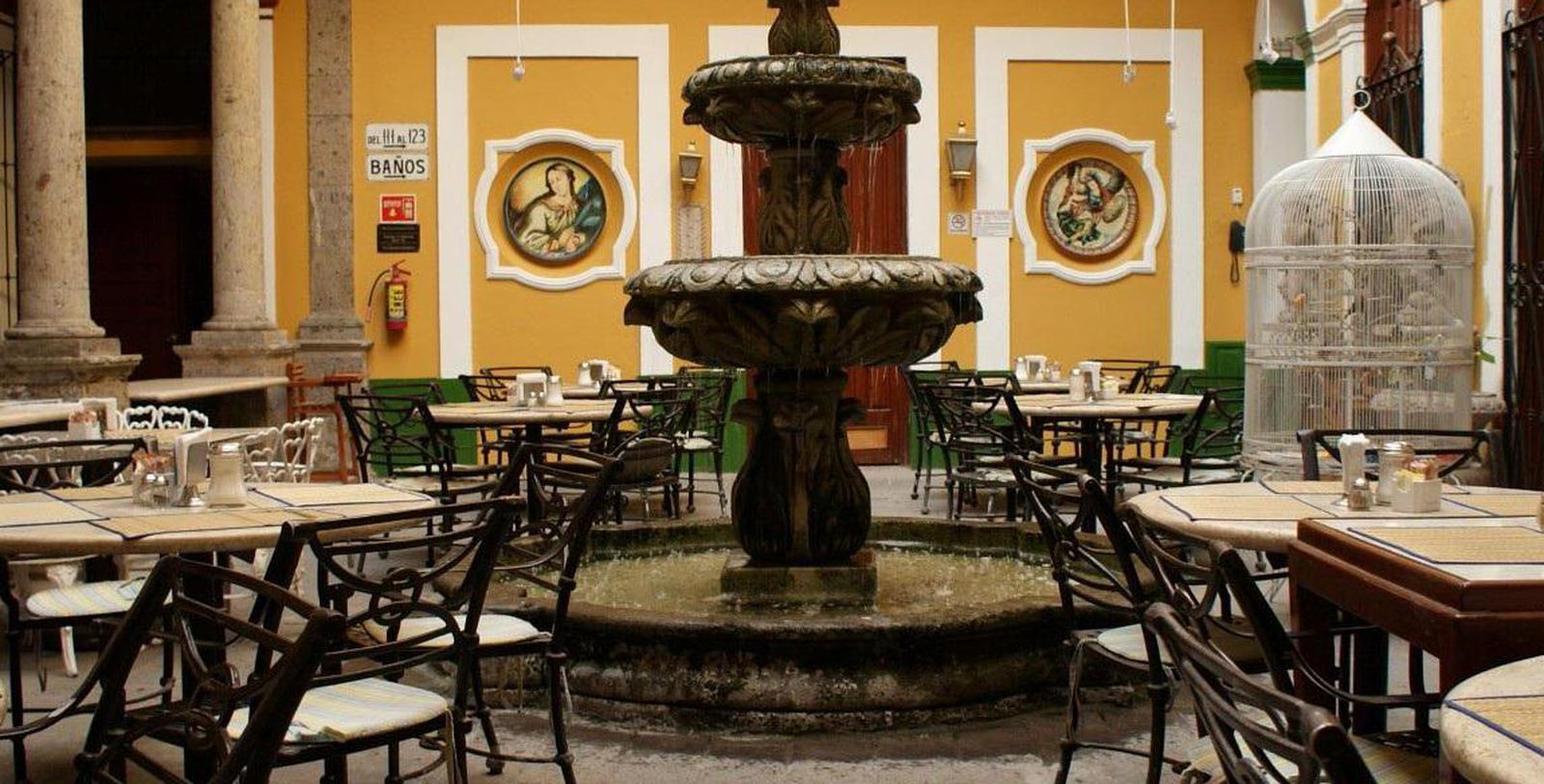 Image of Courtyard Seating & Fountain, Hotel San Francisco Plaza, Guadalajara, 1896, Member of Historic Hotels Worldwide, Discover