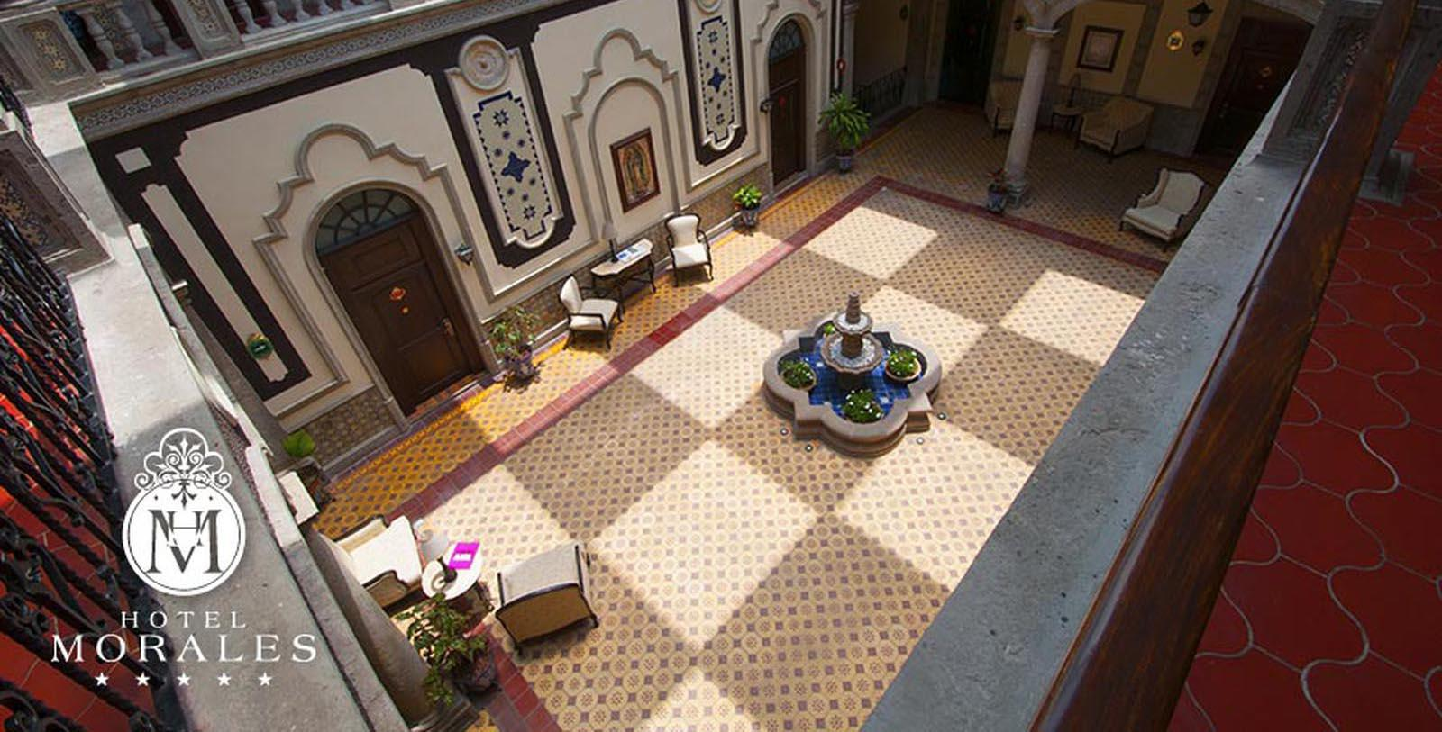 Image of Lobby & Interior Courtyard, Hotel Morales, Guadalajara, Mexico, 1800s, Member of Historic Hotels Worldwide, Overview