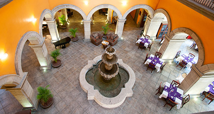 Image of Interior Courtyard Fountain, Hotel Morales, Guadalajara, Mexico, 1800s, Member of Historic Hotels Worldwide, Explore