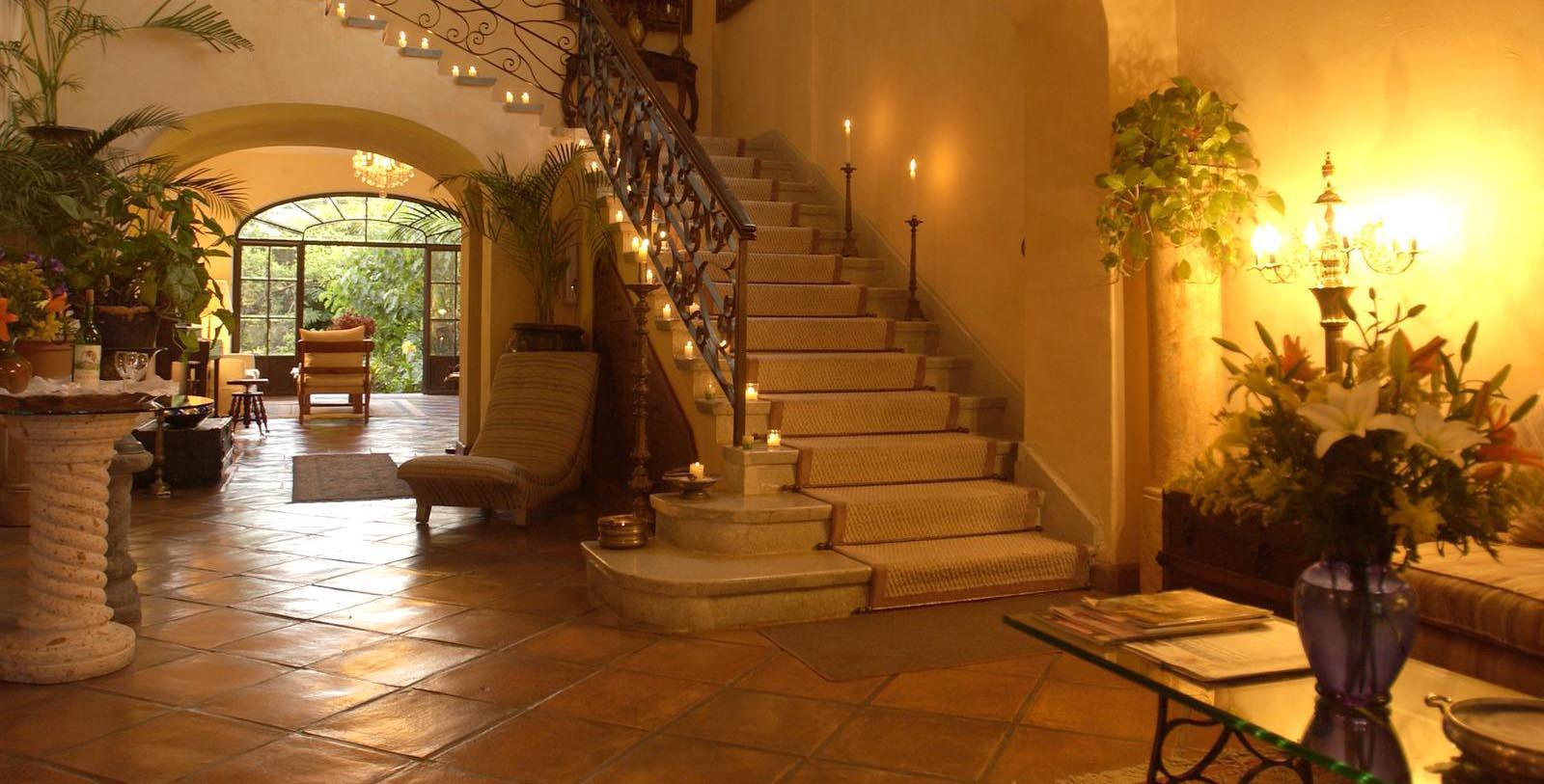 Image of Hotel Lobby and Staircase at Villa Ganz Boutique Hotel, 1930, Member of Historic Hotels Worldwide, in Guadalajara, Jalisco, Mexico, Discover