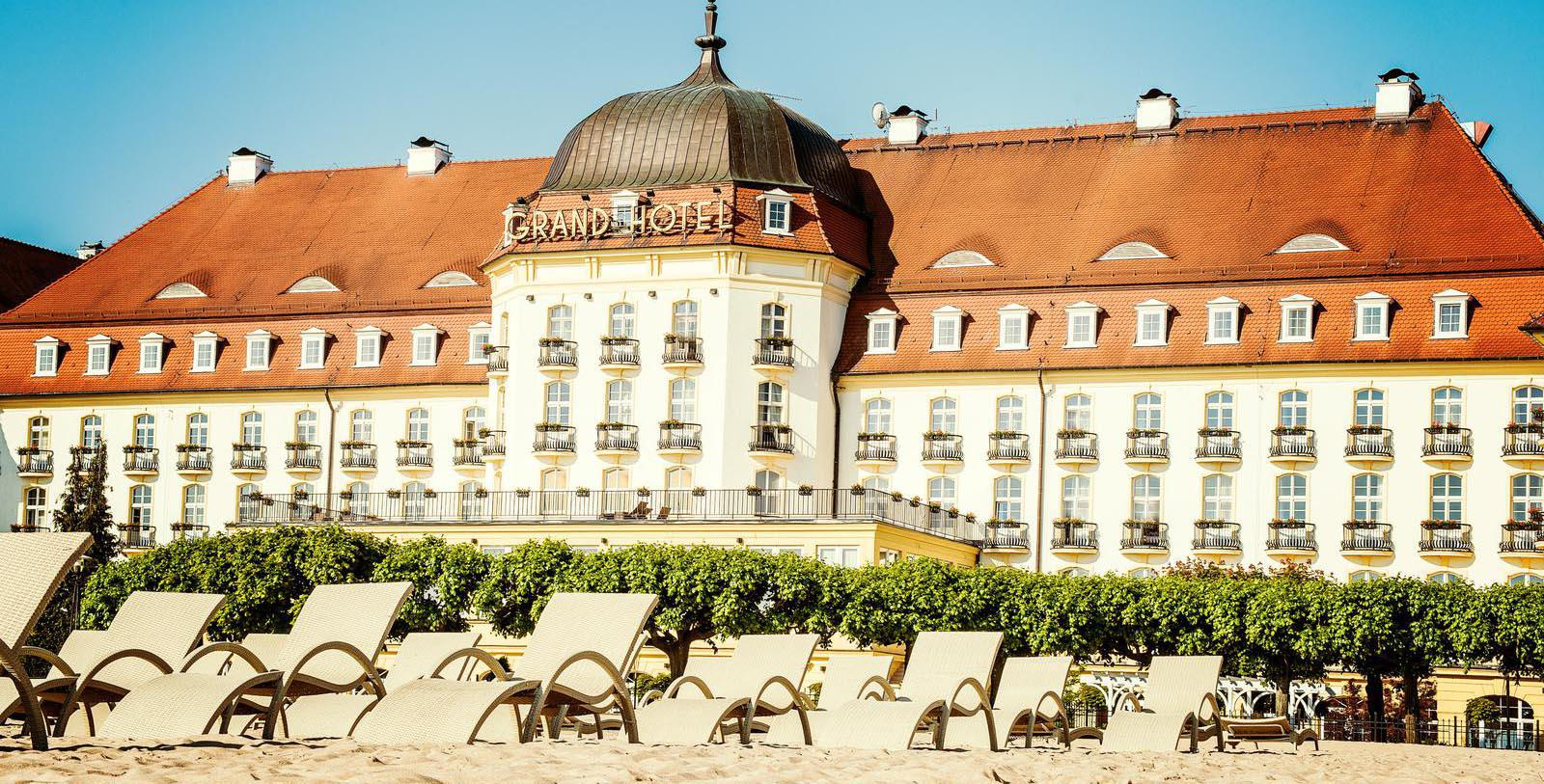 Image of Hotel Façade Sofitel Grand Sopot, 1927, Member of Historic Hotels Worldwide, in Sopot, Poland, Special Offers, Discounted Rates, Families, Romantic Escape, Honeymoons, Anniversaries, Reunions