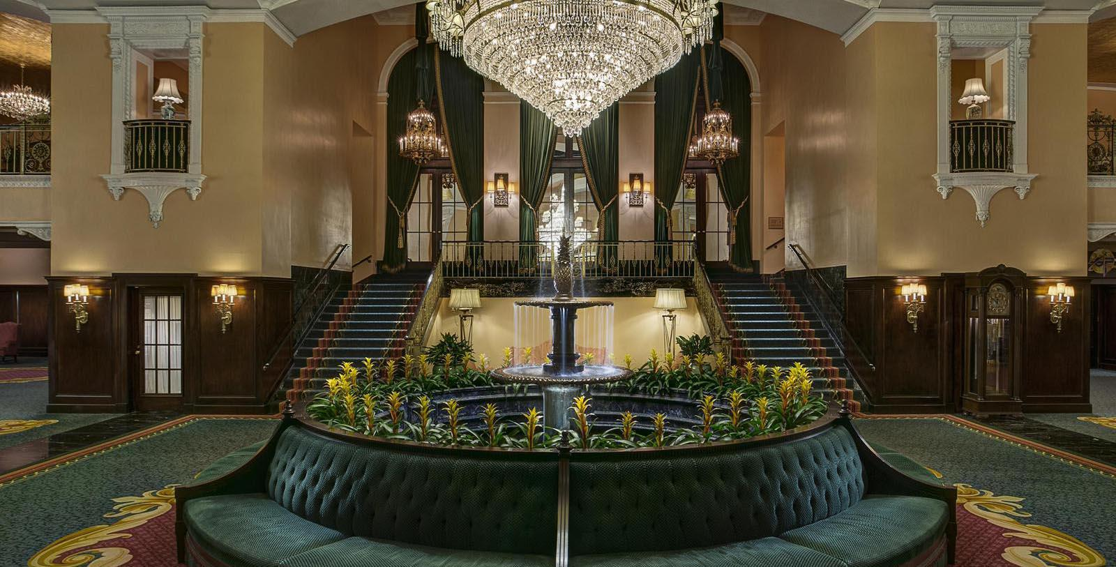 Image of Lobby at Amway Grand Plaza Hotel, 1913, 1913, Member of Historic Hotels of America, in Grand Rapids, Michigan, Special Offers, Discounted Rates, Families, Romantic Escape, Honeymoons, Anniversaries, Reunions