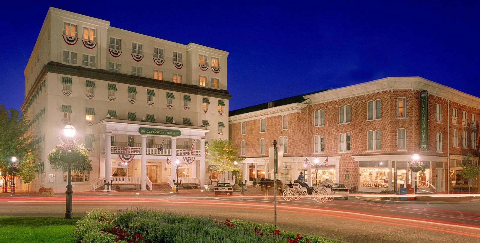 Image of hotel exterior at night Gettysburg Hotel, Est.1797, Member of Historic Hotels of America, in Gettysburg, Pennsylvania, Explore