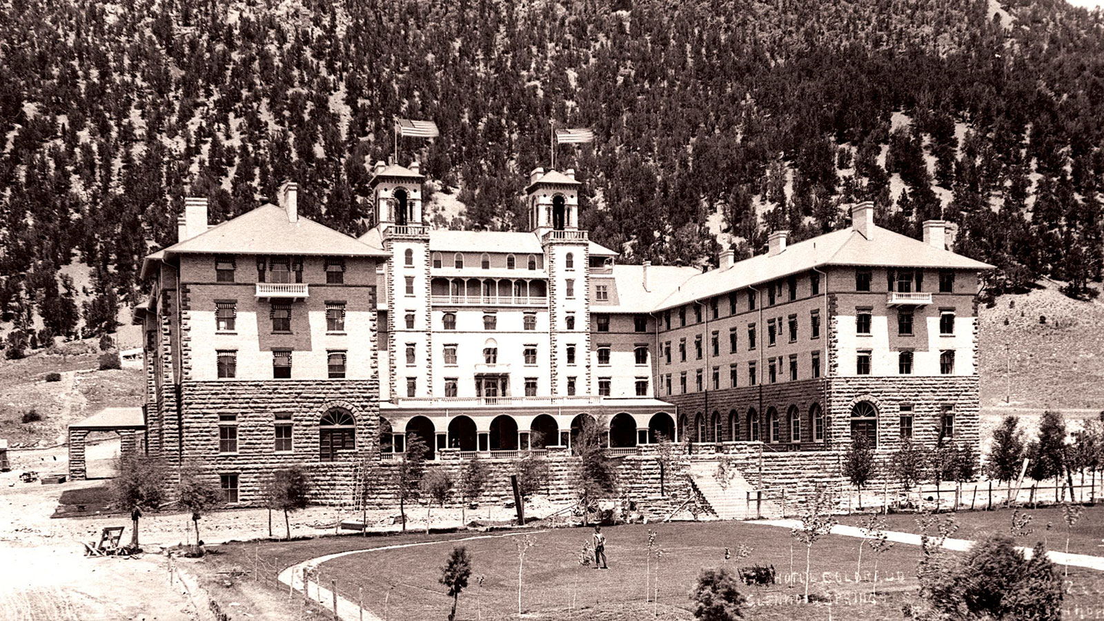 Historic image of hotel exterior at the Hotel Colorado, 1893, Member of Historic Hotels of America, Glenwood Springs, Colorado, History