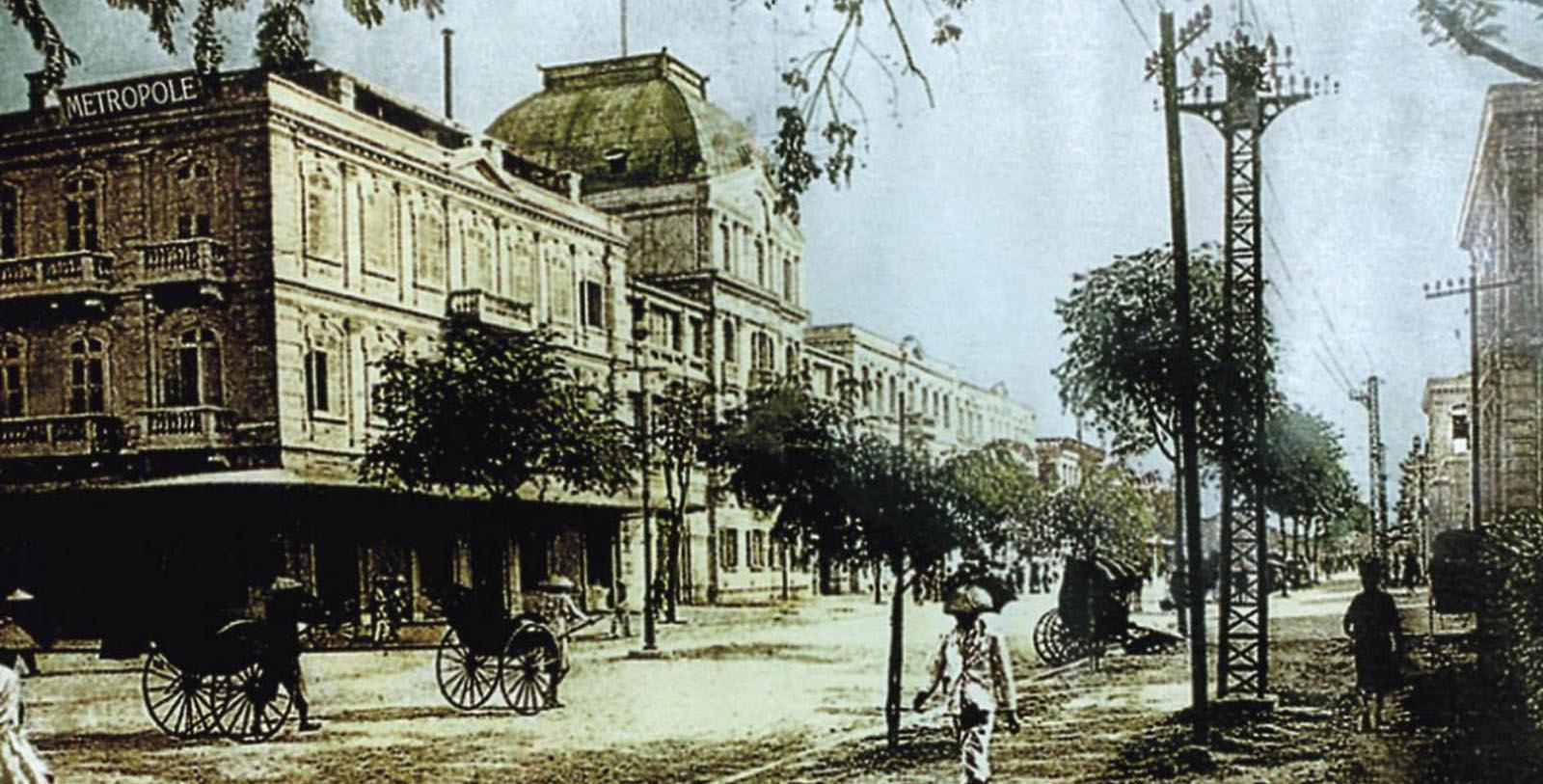 Historic Exterior of Hotel Metropole in Hanoi, Vietnam