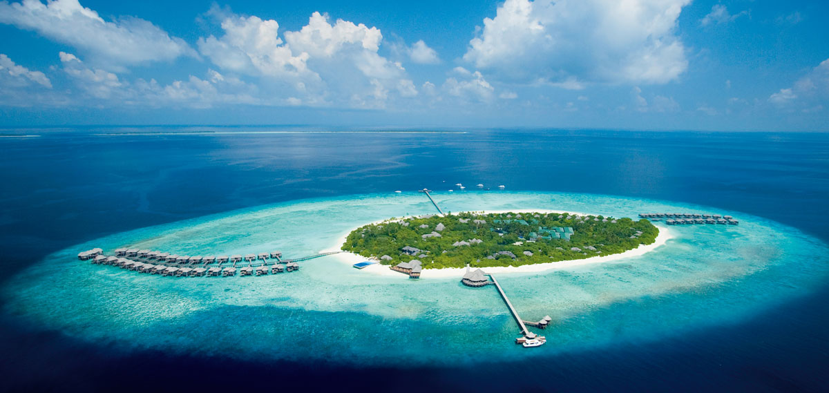 Overhead Shot of Manafaru Island and JA Manafaru Hotel
