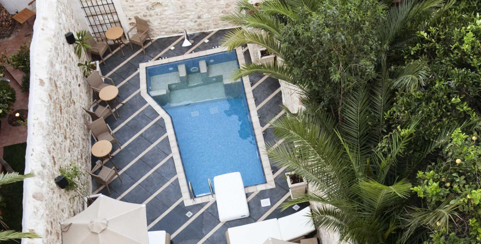 Image of aerial view of outdoor pool Antica Dimora Suites, 1820, Member of Historic Hotels Worldwide, in Crete, Greece, Explore
