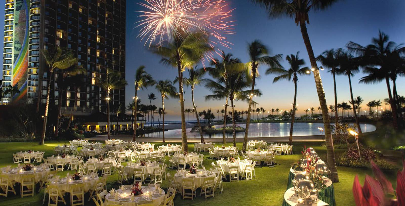 Image of fireworks over wedding reception Hilton Hawaiian Village® Waikiki Beach Resort, 1957, Member of Historic Hotels of America, in Honolulu, Hawaii, Special Occasions