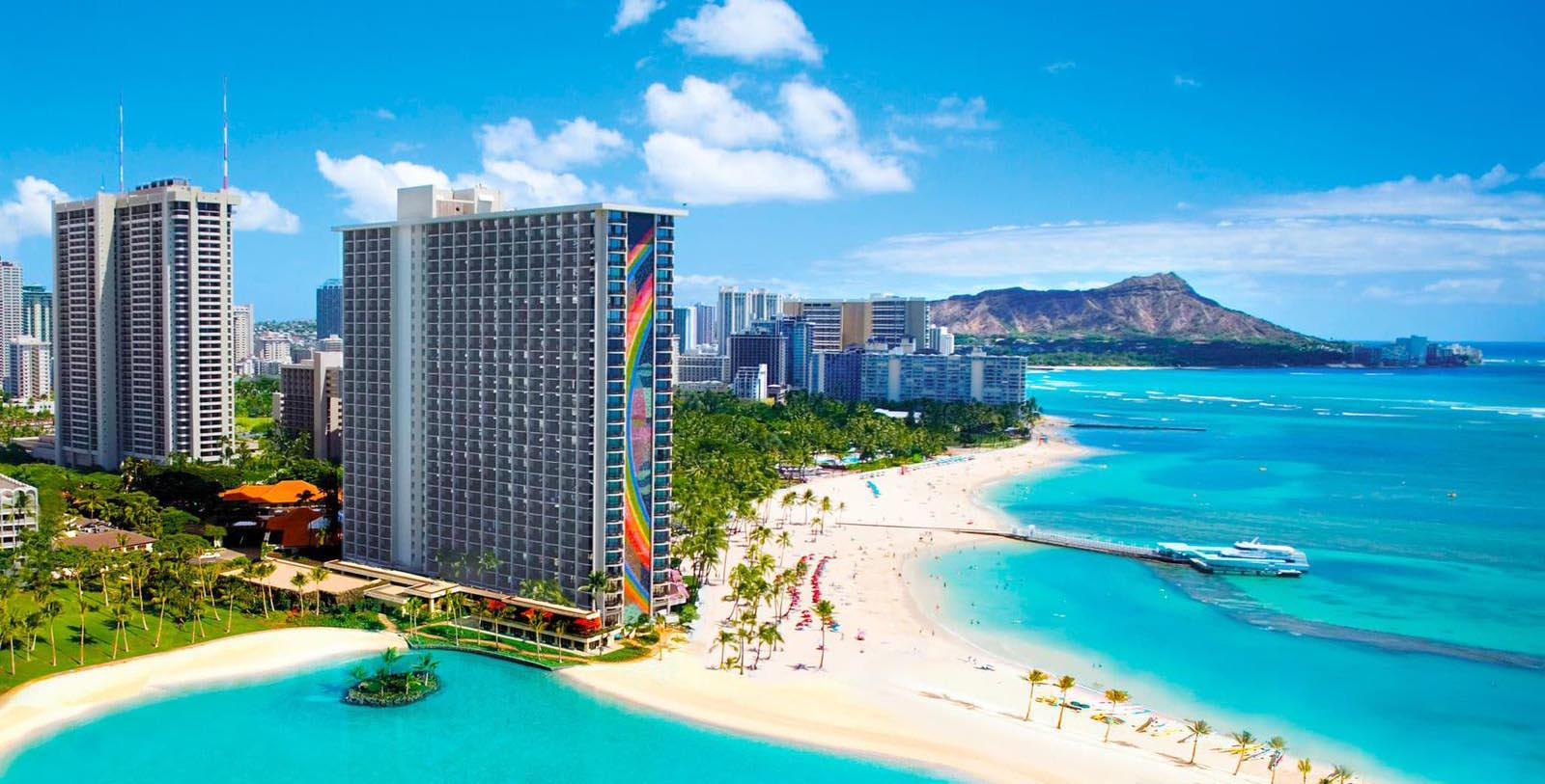Image of hotel exterior and surrounding area Hilton Hawaiian Village® Waikiki Beach Resort, 1957, Member of Historic Hotels of America, in Honolulu, Hawaii, Overview