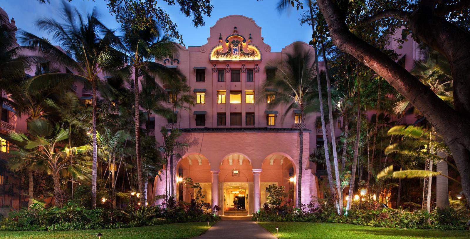 Image of Hotel Exterior The Royal Hawaiian, A Luxury Collection Resort, 1927, Member of Historic Hotels of America, in Honolulu, Hawaii, Special Offers, Discounted Rates, Families, Romantic Escape, Honeymoons, Anniversaries, Reunions