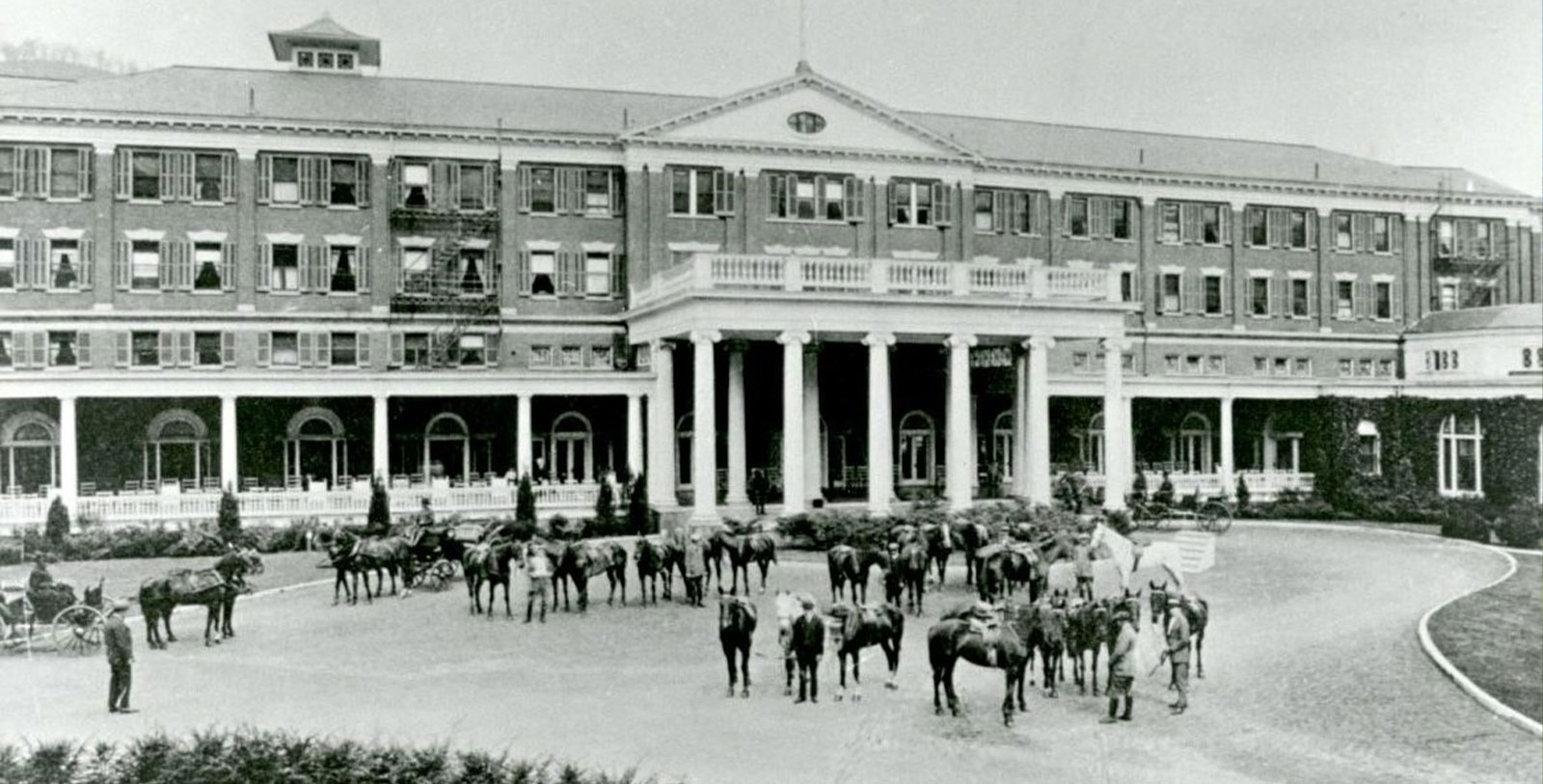 Historic Image of Hotel Front Entrance at The Omni Homestead Resort, 1766, Member of Historic Hotels of America, in Hot Springs, Virginia, Discover