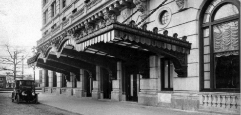 Historical Image of Exterior Front Entrance, HOTEL DU PONT, 1913, Member of Historic Hotels of America, in Wilmington, Delaware.