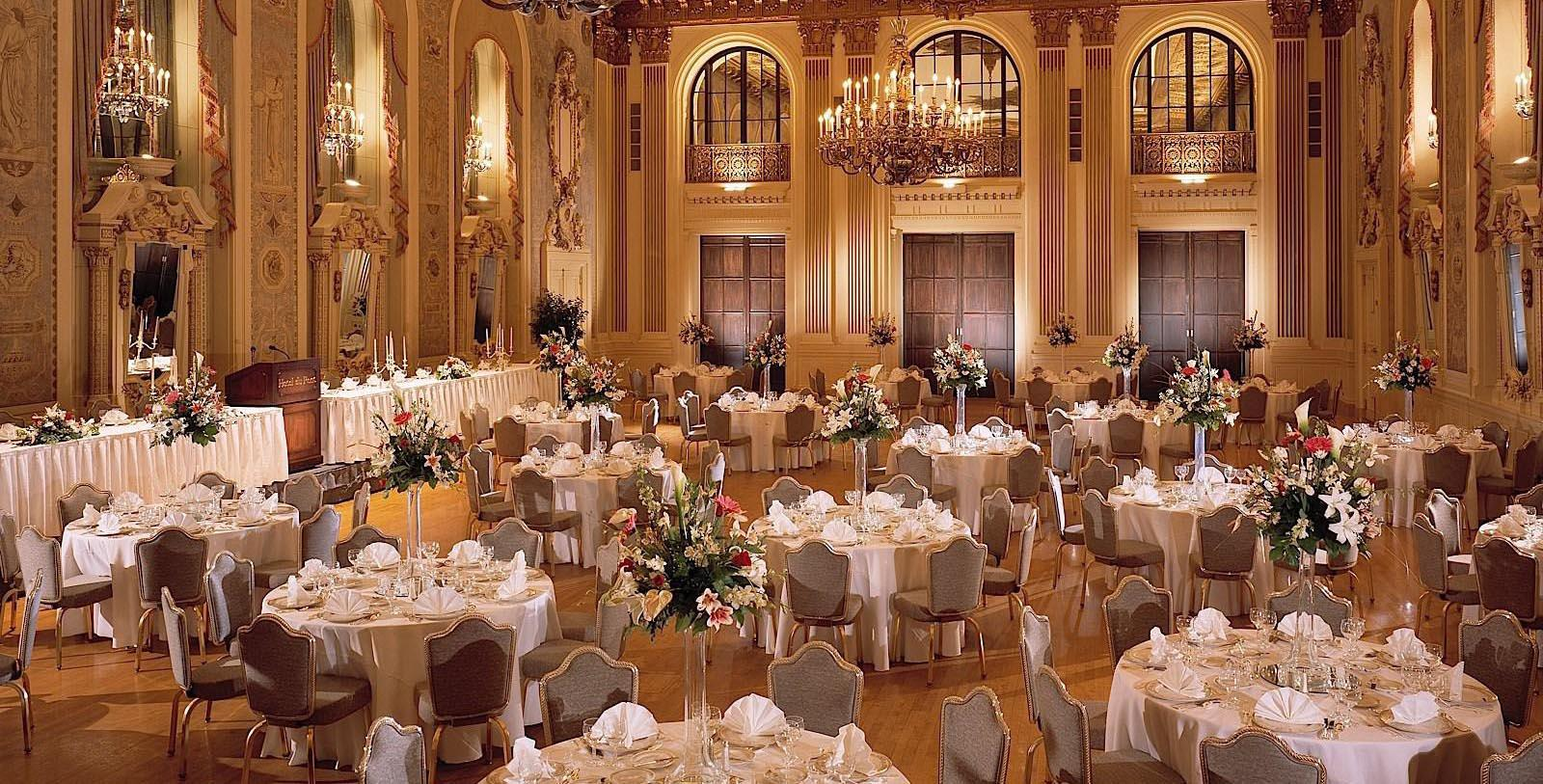Image of banquet hall wedding reception HOTEL DU PONT, 1913, Member of Historic Hotels of America, in Wilmington, Delaware, Experience