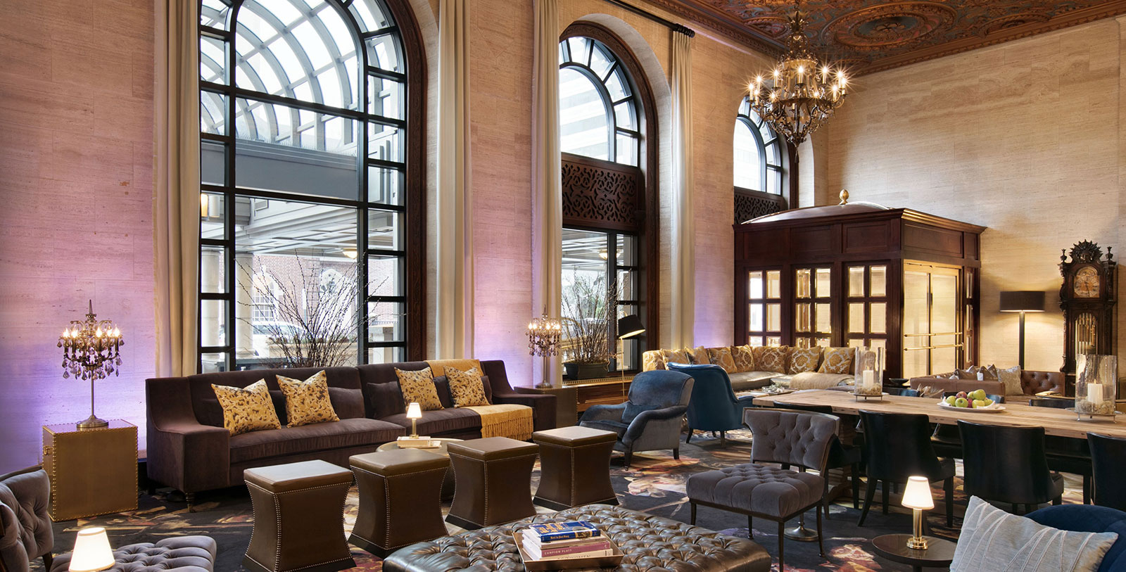 Image of hotel lobby HOTEL DU PONT, 1913, Member of Historic Hotels of America, in Wilmington, Delaware, Explore