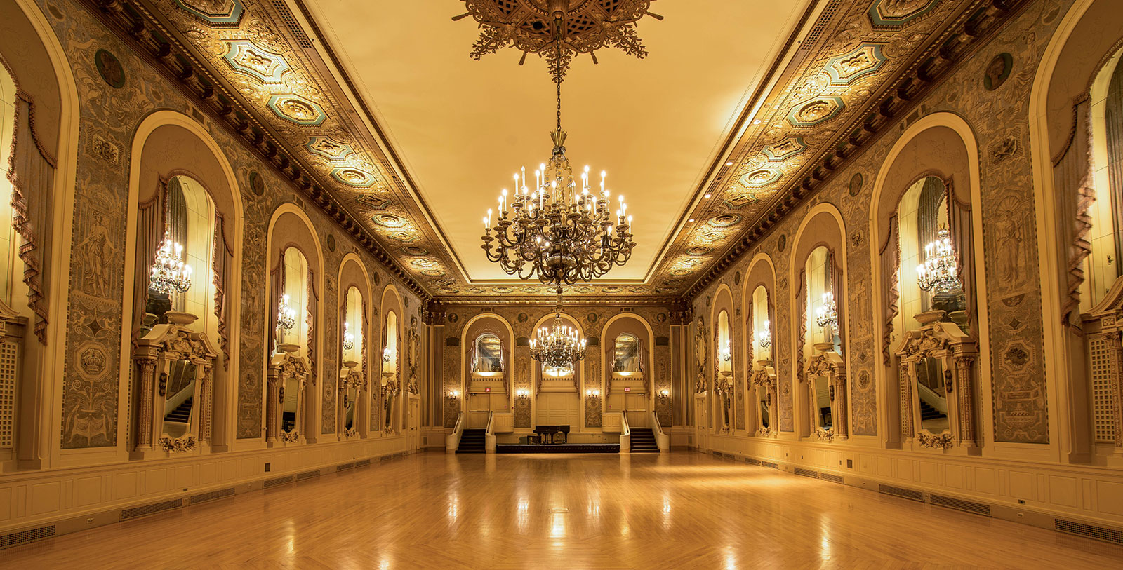 Image of gold ballroom HOTEL DU PONT, 1913, Member of Historic Hotels of America, in Wilmington, Delaware, Special Occasions