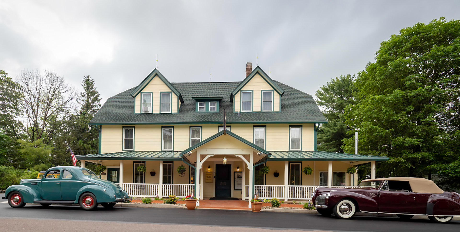 Historical Image of Exterior, Eagles Mere Inn, 1887, Member of Historic Hotels of America, in Eagles Mere, Pennsylvania