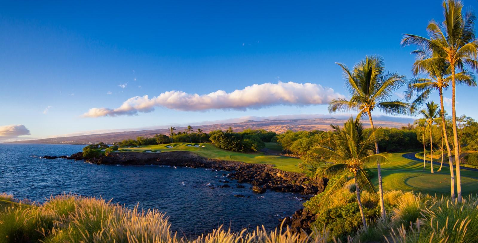 Image of Hotel Exterior & Beach, Mauna Kea Beach Hotel, Kohala Coast, Hawaii, 1965, Member of Historic Hotels of America, Golf