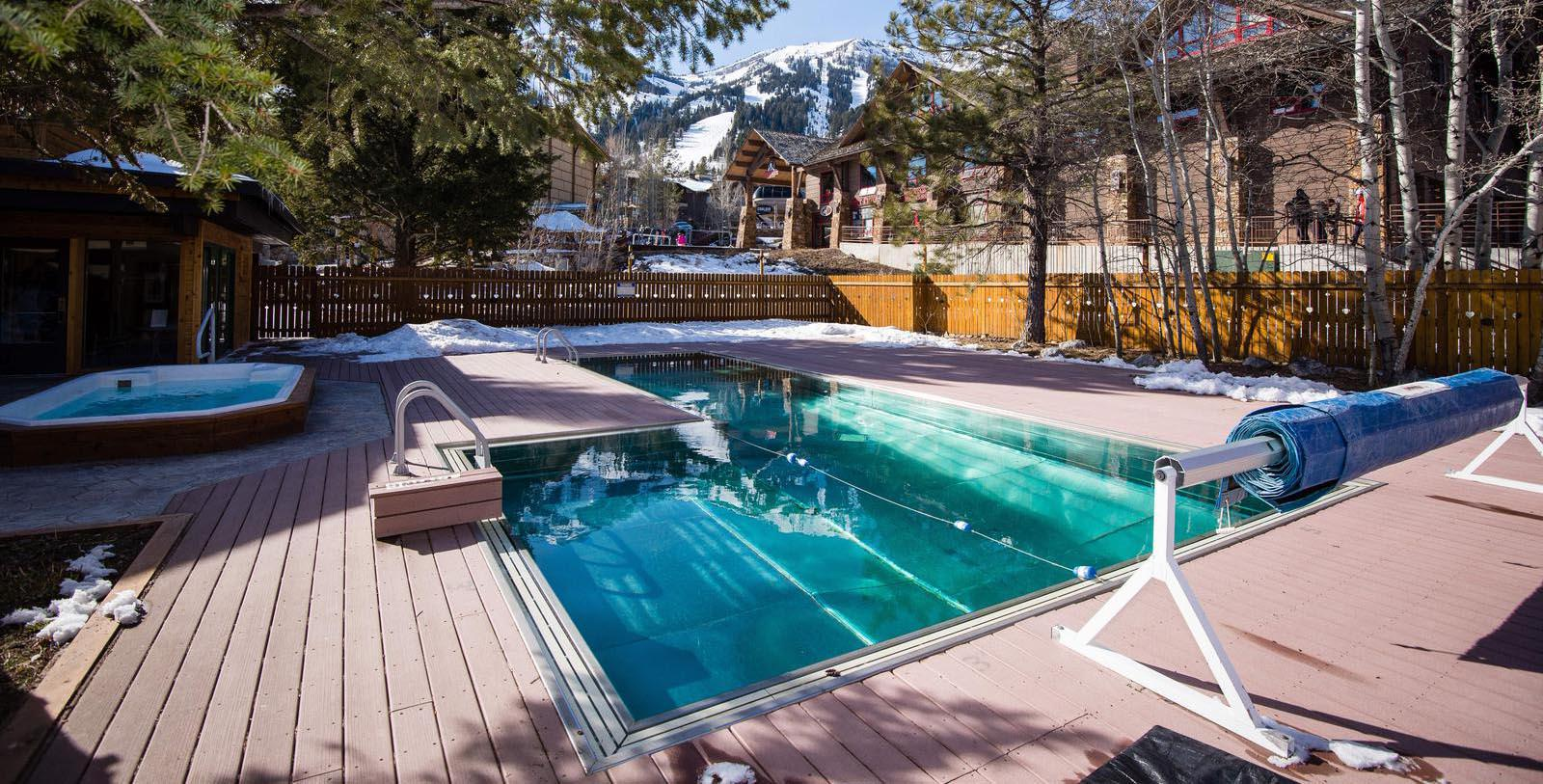 Image of Outdoor Pool at Alpenhof Lodge, 1965, Member of Historic Hotels of America, in Teton Village, Wyoming, Hot Deals