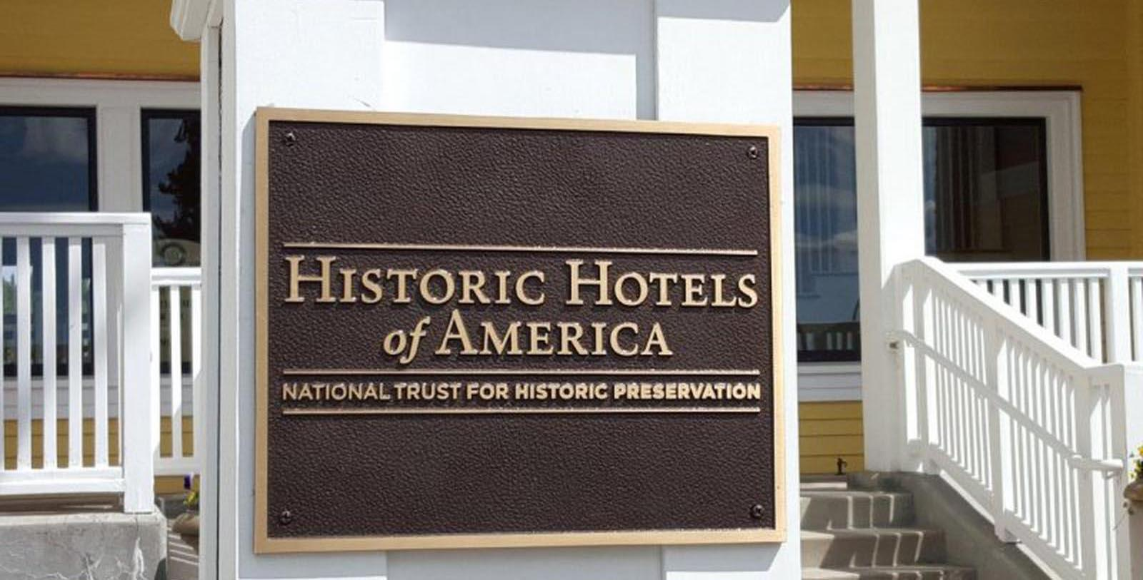 Image of Historic Hotels of America Plaque, Lake Yellowstone Hotel & Cabins, Yellowstone National Park, Wyoming, 1891, Member of Historic Hotels of America, Discover