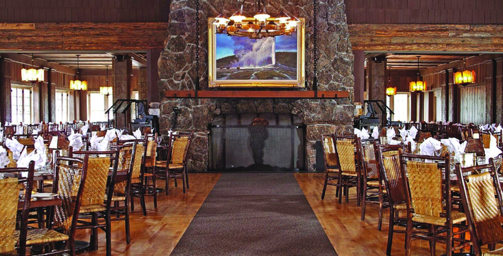 Image of Dining Room at Old Faithful Inn, Yellowstone National Park, Wyoming, 1923, Member of Historic Hotels of America, Experience