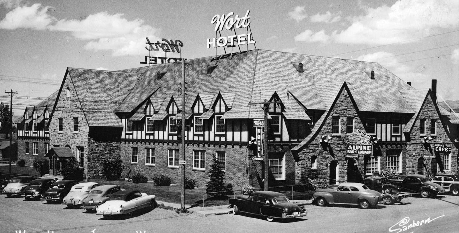 Historic image of hotel exterior The Wort Hotel, 1941, Member of Historic Hotels of America, in Jackson, Wyoming,Discover