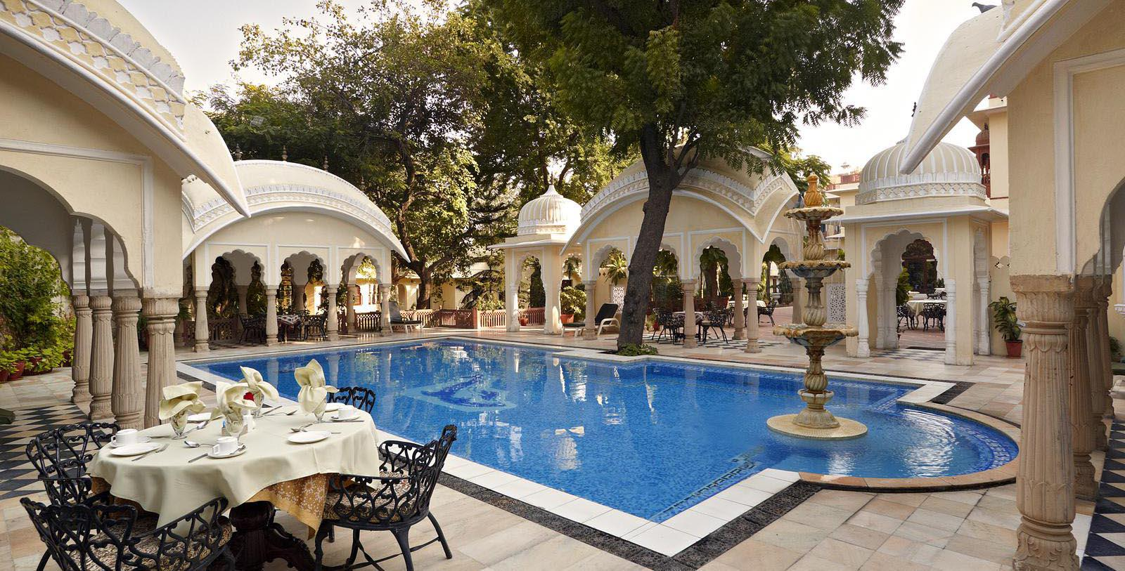 Image of outdoor pool area Alsisar Haveli, 1892, Member of Historic Hotels Worldwide, in Jaipur, India, Hot Deals