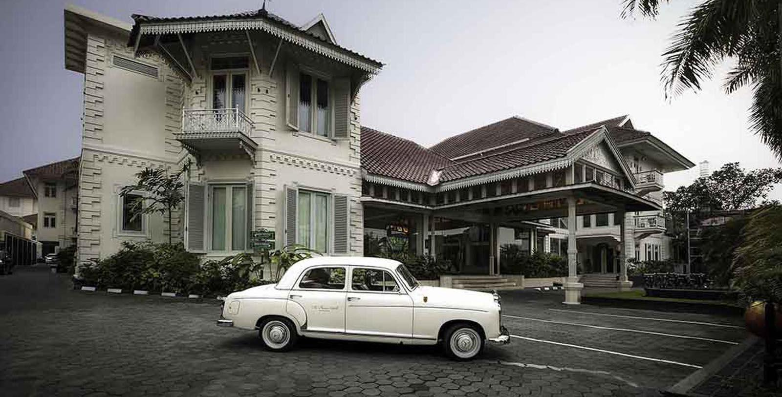 Historic Image of Hotel Front Entrance at The Phoenix Hotel Yogyakarta - MGallery by Sofitel, 1928, Member of Historic Hotels Worldwide, in Yogyakarta, Indonesia, Discover
