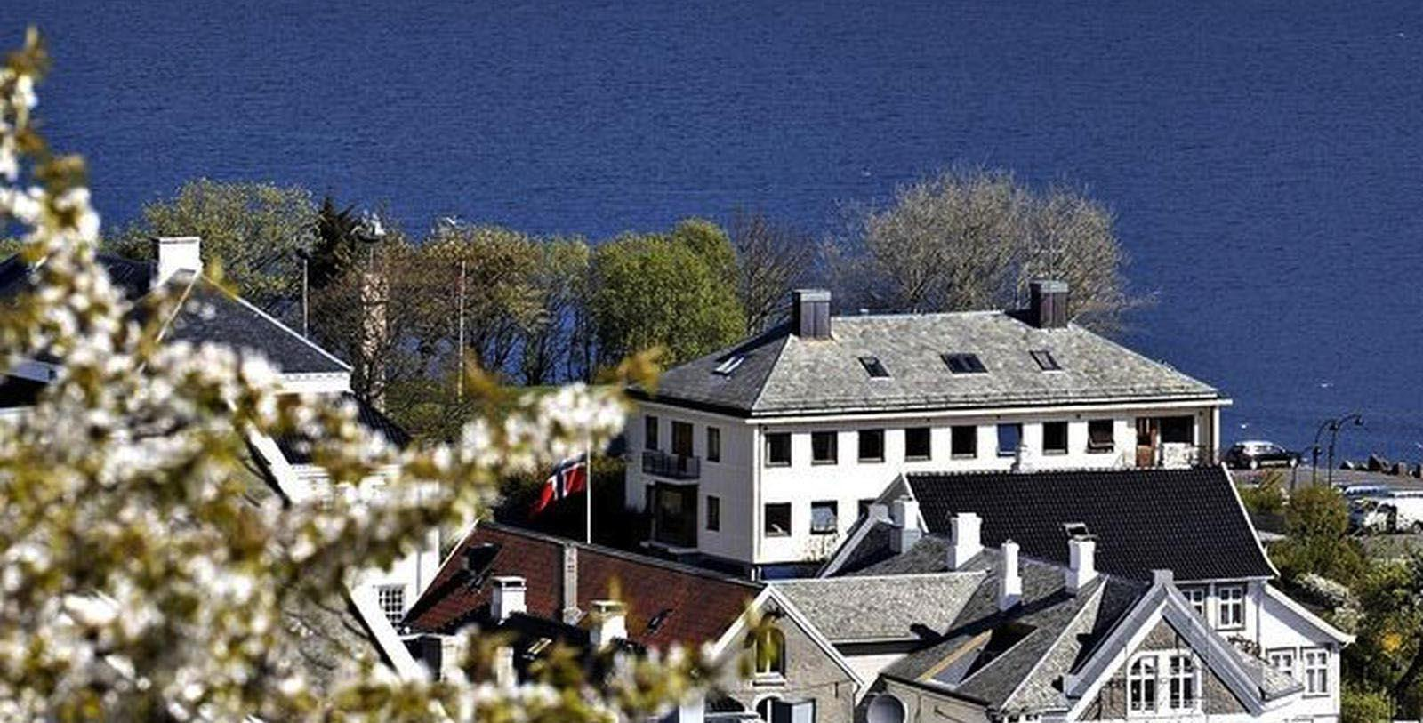 Image of Aerial View of Hotel Rederiet Hotell, 1958, Member of Historic Hotels Worldwide, in Farsund, Norway, Overview
