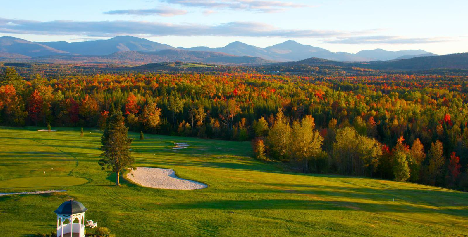 Image of Golf Course & Autumn Landscape, Mountain View Grand Resort & Spa in Whitefield, New Hampshire, 1865, Member of Historic Hotels of America, Explore
